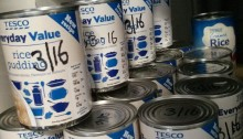 These tins of rice pudding will soon be ate by people in Cwmbran who are struggling