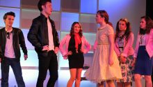 Danny and Sandy in Croesyceiliog School's production of Grease