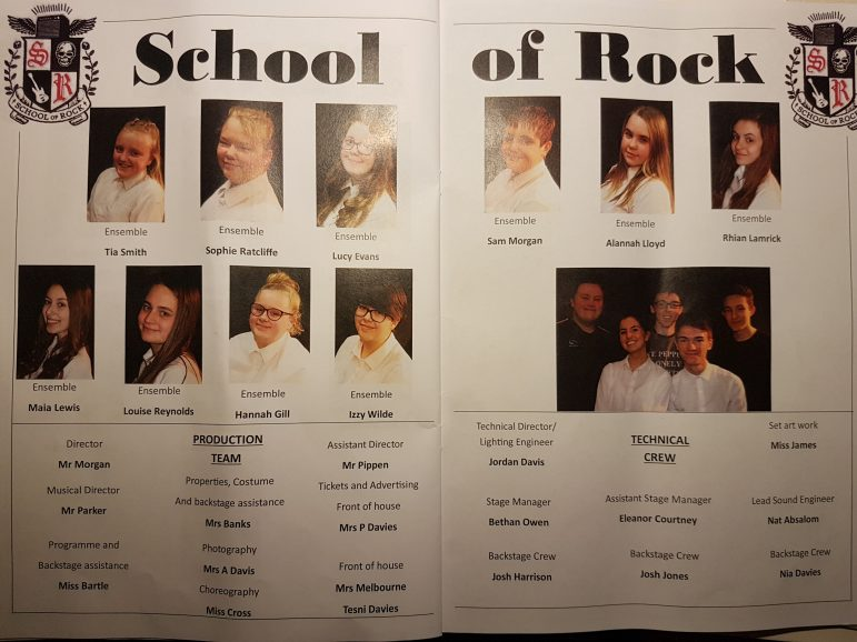 The cast and crew of Croesyceiliog School's production of School of Rock