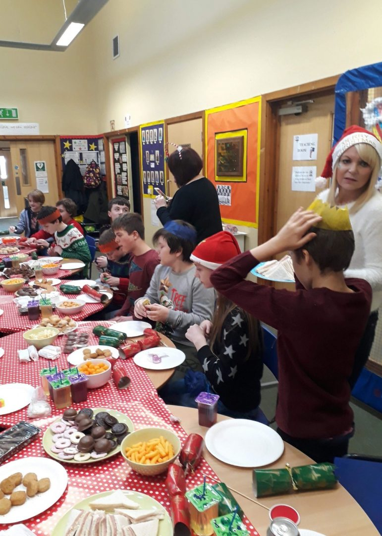The Christmas party at the autism base in Cwmbran High School