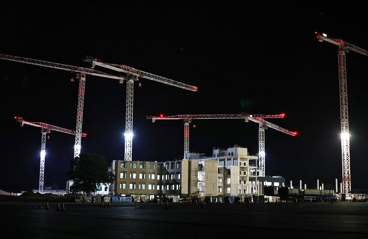 The cranes being used to build the new Grange University Hospital in Cwmbran