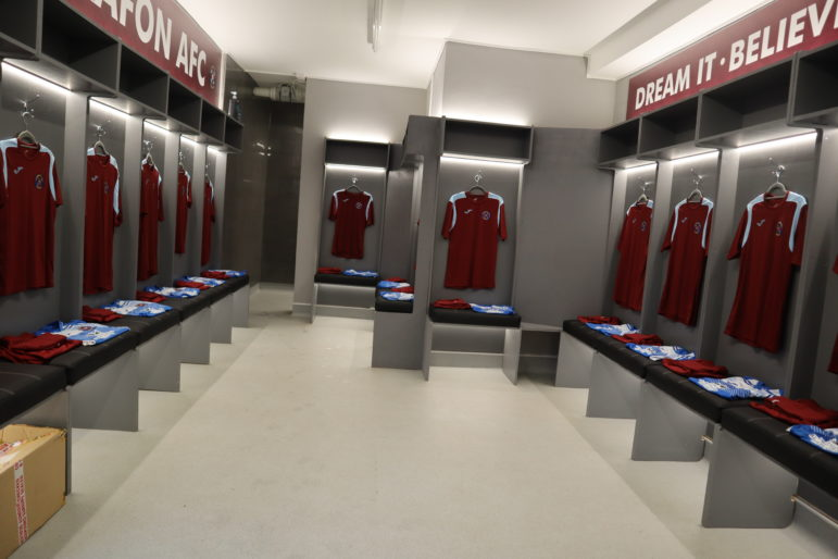 The new home changing room at Llanyrafon AFC